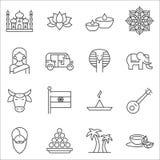 Insieme della linea icone di simboli dell'India di vettore royalty illustrazione gratis