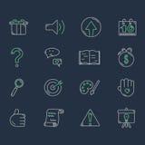 Insieme della linea icone su fondo scuro Illustrazione di Stock
