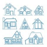 Insieme della linea illustrazione di vettore di arte dell'icona dettagliata fresca della casa isolata su fondo bianco Per coloraz royalty illustrazione gratis