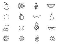 Insieme della linea illustrazione di vettore dell'icona della frutta Fotografia Stock