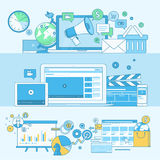 Insieme della linea insegne di concetto per l'introduzione sul mercato digitale Immagine Stock