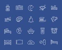 Insieme della linea minima icone di vettore di tempo di sonno Pixel perfetto Colpo sottile Fotografie Stock Libere da Diritti