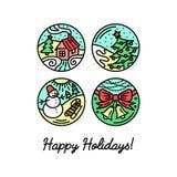 Insieme della linea piana icone sulle vacanze invernali Fotografia Stock