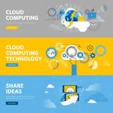 Insieme della linea piana insegne di web di progettazione per i servizi della nuvola e la tecnologia di calcolo, archiviazione di Fotografia Stock Libera da Diritti