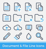 Insieme della linea progettazione della gestione directory e del file delle icone Fotografia Stock Libera da Diritti