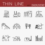 Insieme della linea relativa icone di vettore delle fabbriche Fotografie Stock