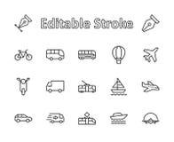Insieme della linea relativa icone di vettore di trasporto pubblico Contiene tali icone come il bus, la bici, il motorino, l'auto illustrazione vettoriale