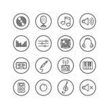 Insieme della linea semplice icone di vettore di arte sul tema di musica nel telaio rotondo Fotografia Stock