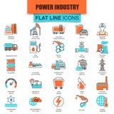 Insieme della linea sottile centrale elettrica delle icone, estrazione di varie risorse illustrazione di stock