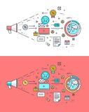 Insieme della linea sottile concetto di progetto piano sul tema dell'introduzione sul mercato digitale illustrazione vettoriale