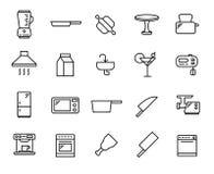 Insieme della linea sottile icone della cucina Fotografie Stock