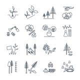 Insieme della linea sottile icone silvicoltura e selvicoltura illustrazione di stock