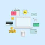 Insieme della linea sottile piana icone Illustrazione online di pagamento o di commercio elettronico Fotografie Stock Libere da Diritti