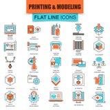 Insieme della linea sottile stampa delle icone 3D e tecnologia di modellistica Immagine Stock