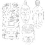 Insieme della linea tribale maschera cerimoniale delle maschere di Art Hand Drawn African Mayan nessun materiale di riempimento Immagini Stock