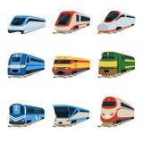 Insieme della locomotiva del treno, illustrazioni ferroviarie di vettore del trasporto Fotografie Stock Libere da Diritti