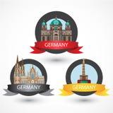 Insieme della maggior parte dei punti di riferimento tedeschi famosi Stile variopinto su dettagliato Immagini Stock Libere da Diritti