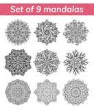 Insieme della mandala Medaglione antistress indiano Fiore islamico astratto, progettazione araba del hennè, simbolo di yoga royalty illustrazione gratis