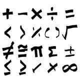 Insieme della mano che disegna simbolo nero di per la matematica Fotografia Stock Libera da Diritti