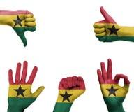 Insieme della mano con la bandiera del Ghana Fotografia Stock Libera da Diritti