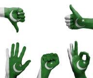Insieme della mano con la bandiera del Pakistan Fotografia Stock Libera da Diritti