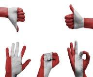 Insieme della mano con la bandiera del Perù Fotografia Stock