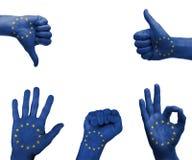 Insieme della mano con la bandiera dell'UE Immagini Stock Libere da Diritti