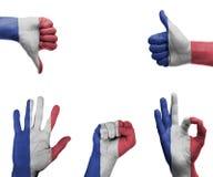 Insieme della mano con la bandiera della Francia Fotografia Stock Libera da Diritti