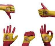 Insieme della mano con la bandiera della Spagna Fotografia Stock Libera da Diritti