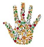 Insieme della mano dell'icona del bene immobile Immagine Stock