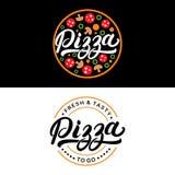 Insieme della mano della pizza scritto segnando logo con lettere, etichetta, distintivo Fotografie Stock
