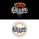 Insieme della mano della pizza scritto segnando logo con lettere, etichetta, distintivo Fotografia Stock