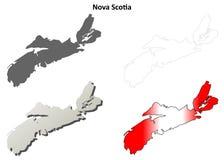 Insieme della mappa del profilo dello spazio in bianco di Nova Scotia illustrazione vettoriale