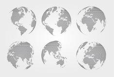 Insieme della mappa di mondo Stile punteggiato Vettore Fotografia Stock