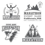 Insieme della maratona corrente e degli emblemi pareggianti Fotografie Stock