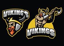 Insieme della mascotte del guerriero di Viking illustrazione vettoriale