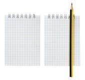 Insieme della matita e del blocchetto per appunti Immagini Stock