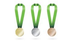 Insieme della medaglia di bronzo della medaglia di argento della medaglia d'oro Immagine Stock