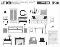Insieme della mobilia del salone Raccolta di art deco illustrazione di stock