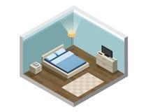 Insieme della mobilia della camera da letto, stanza accogliente Fotografia Stock