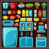 Insieme della mobilia della cucina. Elementi della cucina. Immagine Stock