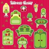Insieme della mobilia della principessa Cherry illustrazione di stock