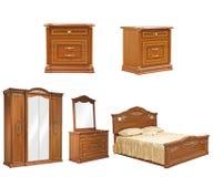 Insieme della mobilia isolata della camera da letto Fotografie Stock Libere da Diritti