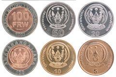 Insieme della moneta del franco di Ruanda Immagini Stock