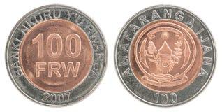 Insieme della moneta del franco di Ruanda Fotografia Stock Libera da Diritti
