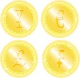 Insieme della moneta di oro Immagini Stock
