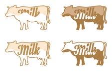 Insieme della mucca e del latte di vettore Fotografia Stock