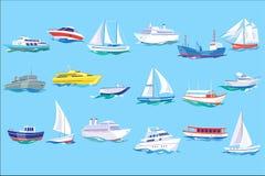 Insieme della nave, della barca e dell'yacht del mare, oceano o illustrazione di vettore di concetto di trasporto marino nello st illustrazione vettoriale