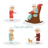 Insieme della nonna dei caratteri con il gatto, cane Immagini Stock