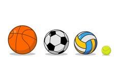 Insieme della palla di sport Pallacanestro e calcio Tennis e pallavolo Fotografia Stock